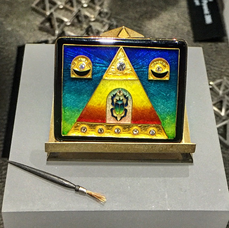 Falcher Fusager  objet d'art in 24, 22, 28k gold and sterling silver with diamonds, ebony wood, Egyptian scarab, cloisonné enamel. (Pyramid: 2005)