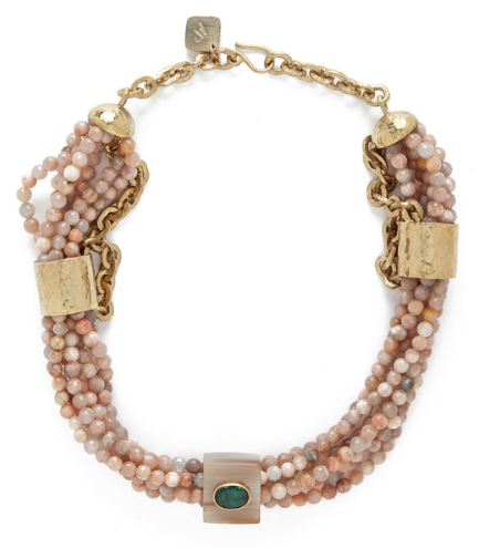 MCHANGA NECKLACE $1,450 MULTI STRAND PINK SANDSTONE NECKLACE WITH BRONZE ACCENTS AND HORN AND EMERALD RING