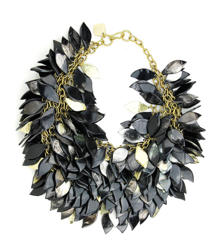 TANZU NECKLACE $1,350 LAYERED HORN AND BRONZE LEAF NECKLACE