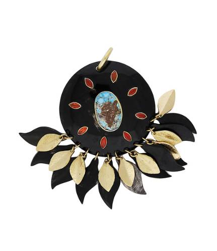 NDOTO PENDANT $995 MEDALLION HORN PENDANT WITH HAMMERED BRONZE AND HORN LEAVES AND TURQUOISE AND CARNELIAN STONES