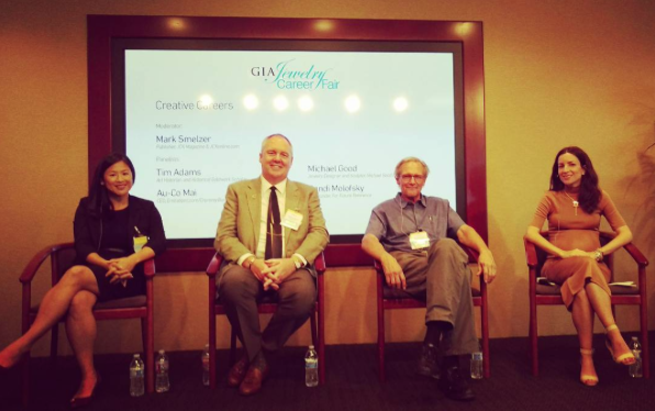 "So professional! Randi spoke on the ""Creative Careers"" panel moderated by JCK's Mark Smelzer. From L-R: e-tailer Au-Co Mai, jewelry historian Tim Adams, designer Michael Good, and Randi + Chickpea."
