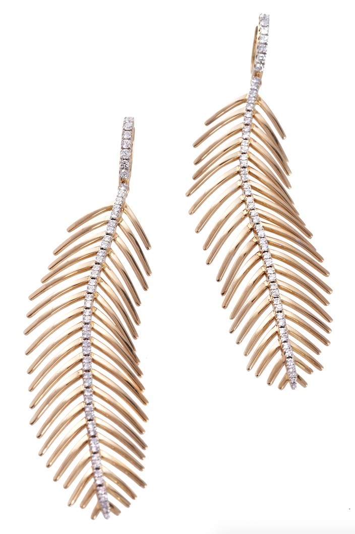 Feathers That Move earrings in 18k gold and diamonds.