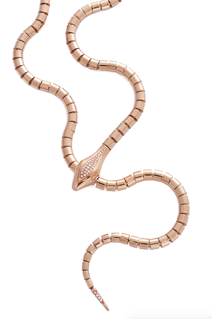Snake necklace in 18k gold and diamonds.