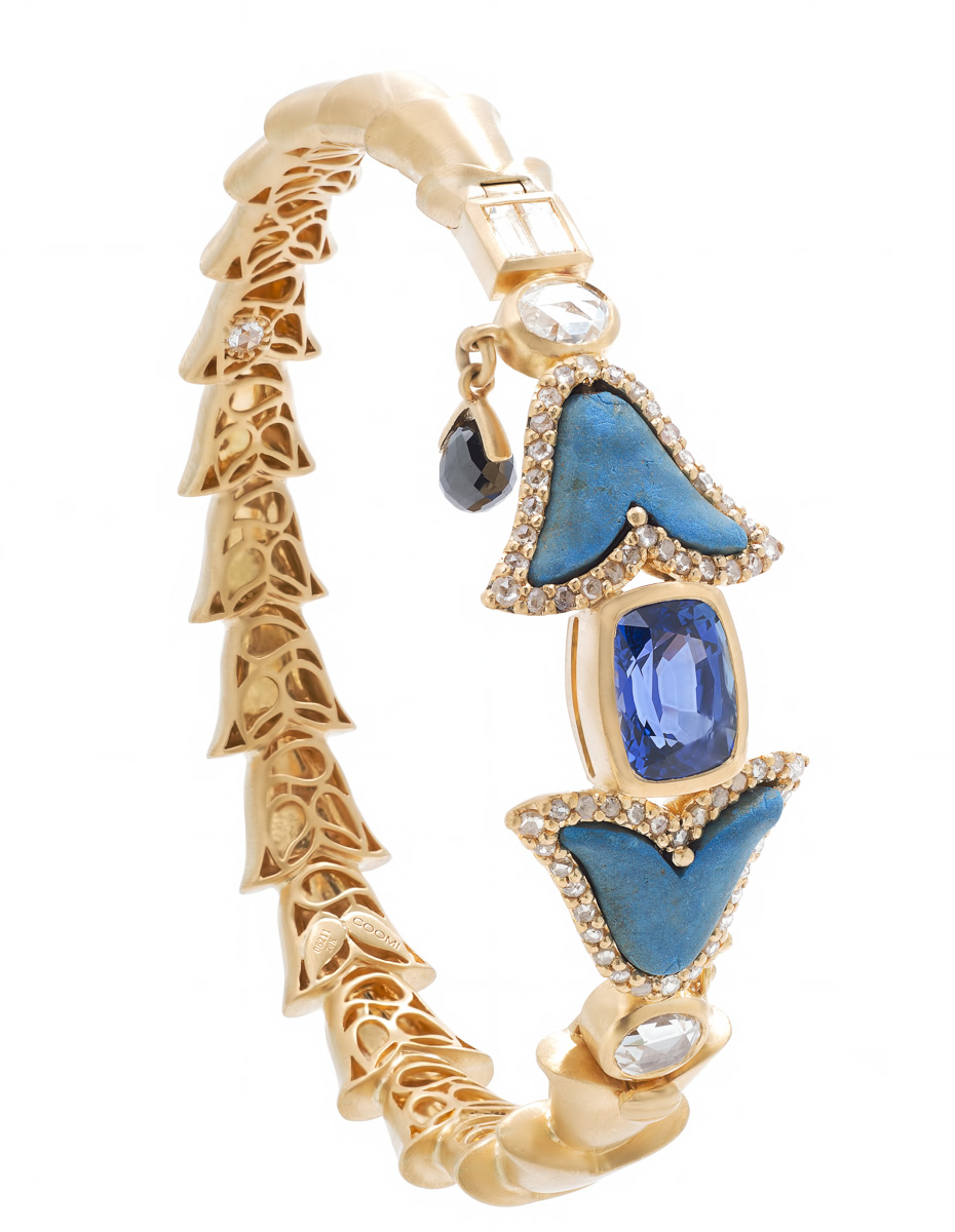 ANTIQUITY 20k gold bracelet with Egyptian blue lotus beads with sapphires and diamonds.