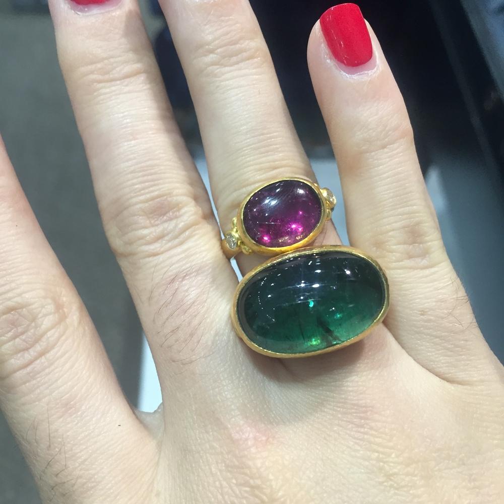 Gurhan tourmaline cabochon rings
