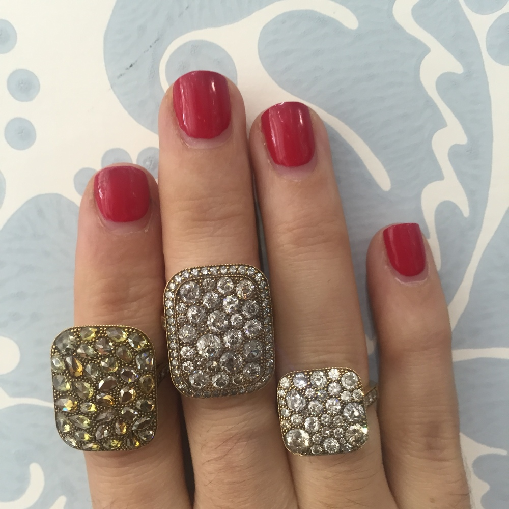 Single Stone's own 'cobblestone' collection rings. They will even repurpose your own diamonds in a custom piece!