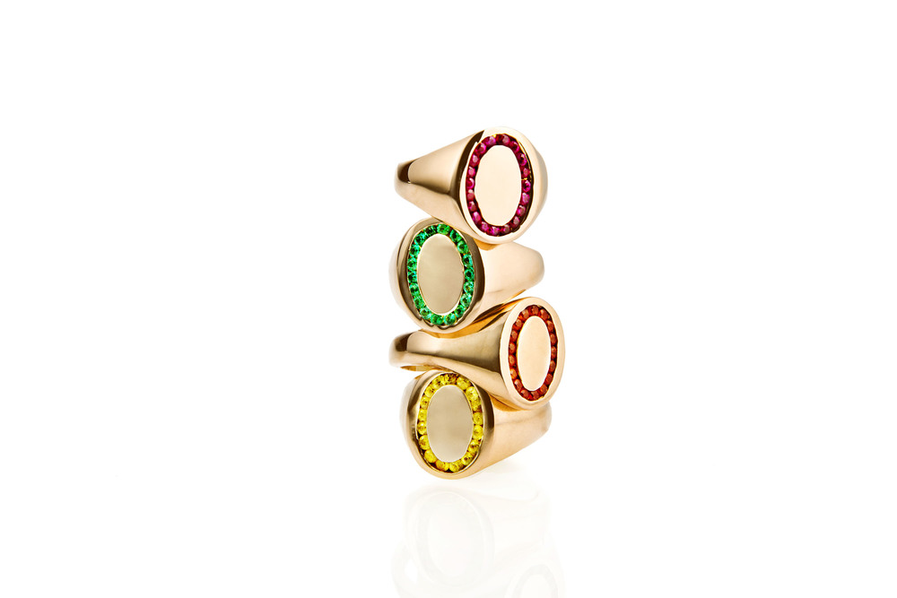 Jessica Biales Pink Gold Candy Signet Rings Stacked.jpeg