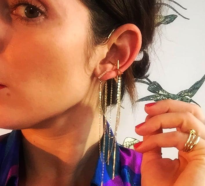 'Stick' ear cascade as shown in Paris last season. 18K yellow gold.