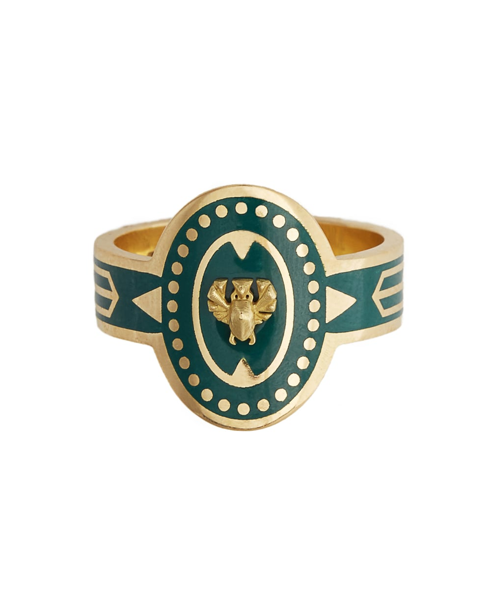 The scarab protection cigar band, available in green enamel and 18K gold.