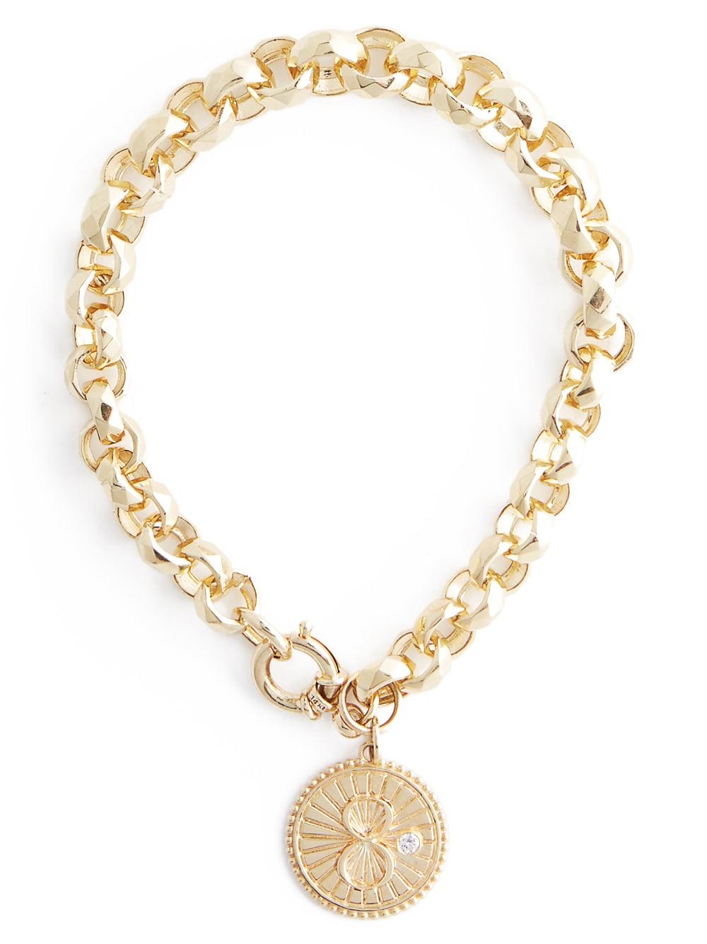 Karma charm bracelet in 18K yellow gold