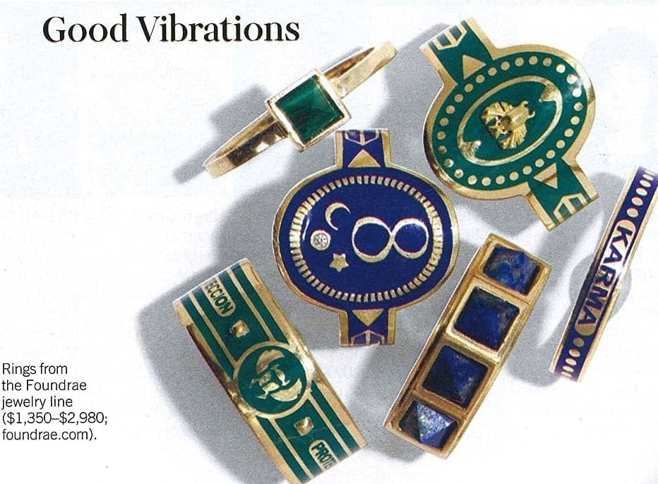 FoundRae in W Magazine February 2016. Featuring the enamel collection.