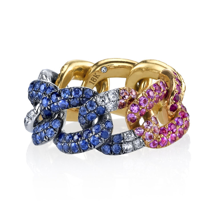 18k rose, white and yellow gold multi-color gemstone Rainbow Link ring, $5,250m available at  Just One Eye