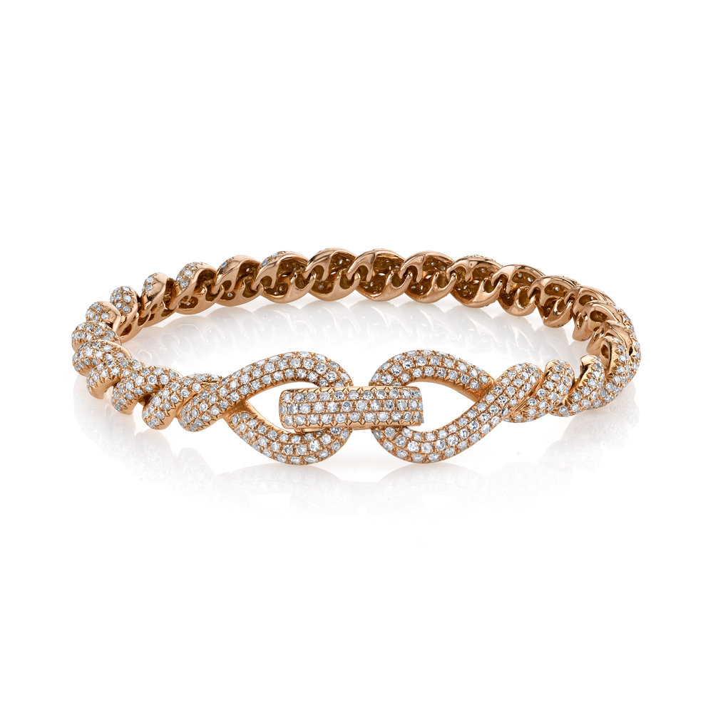 18k gold and diamond Rope bracelet, $14,700, available at Just One Eye