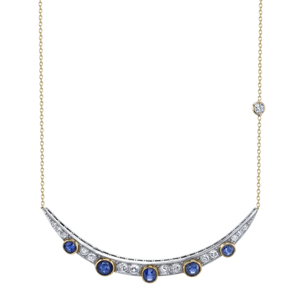 Heritage collection Diamond and Sapphire moon necklace c.1910, $8,820, available at Mitchell's Westport