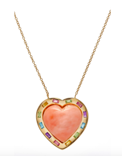 Large Puff Heart Coral Multi-Stone Pendant 18K Gold Necklace-closeup.png