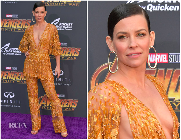 Evangeline Lilly in Ariana Boussard-Reifel at the Avengers: Infinity War premiere (L.A.)