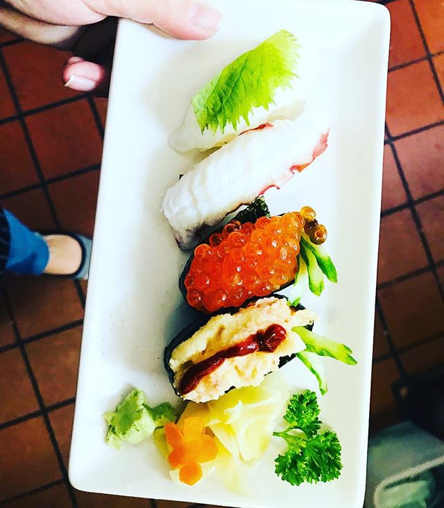 We do nigiri sushi 🍣 by the piece here so you can create your own assortment. Here's ika 🦑 with shiso leaf, tako octopus 🐙, ikura or wild salmon roe, and lobster salad with house spicy sauce. #oceansushideli #oceansushi #oceansushimonterey #nigiri