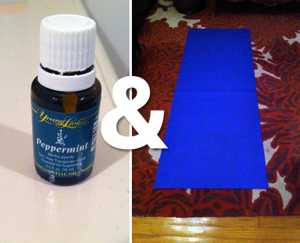Peppermint oil + yoga mat = some stress relief. (Stephanie Habif)
