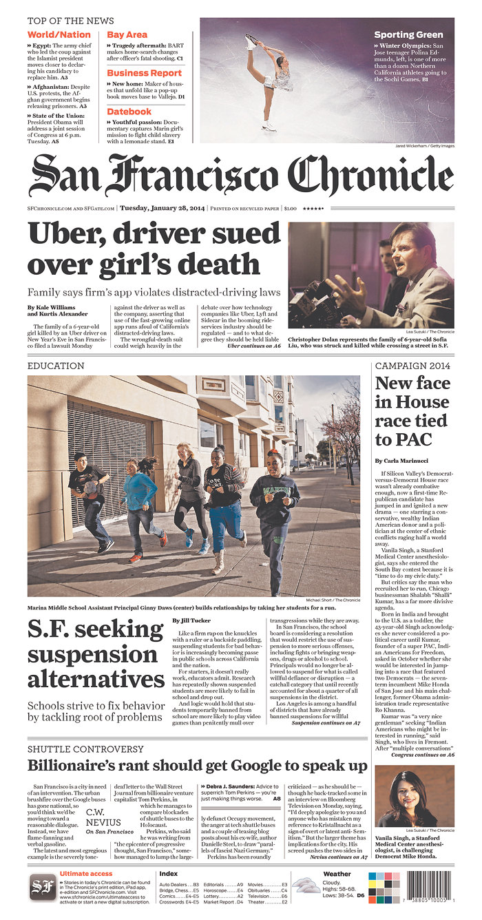 The Jan. 28, 2014 cover of the San Francisco Chronicle (via The Newseum)