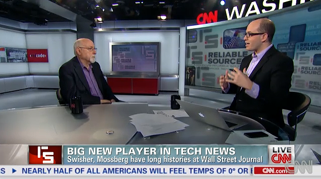 "Walt Mossberg (left) sits with CNN ""Reliable Sources"" host Brian Stelter during an interview. Mossberg left The Wall Street Journal at the end of the year to launch a new media entity with AllThingsD colleague Kara Swisher."