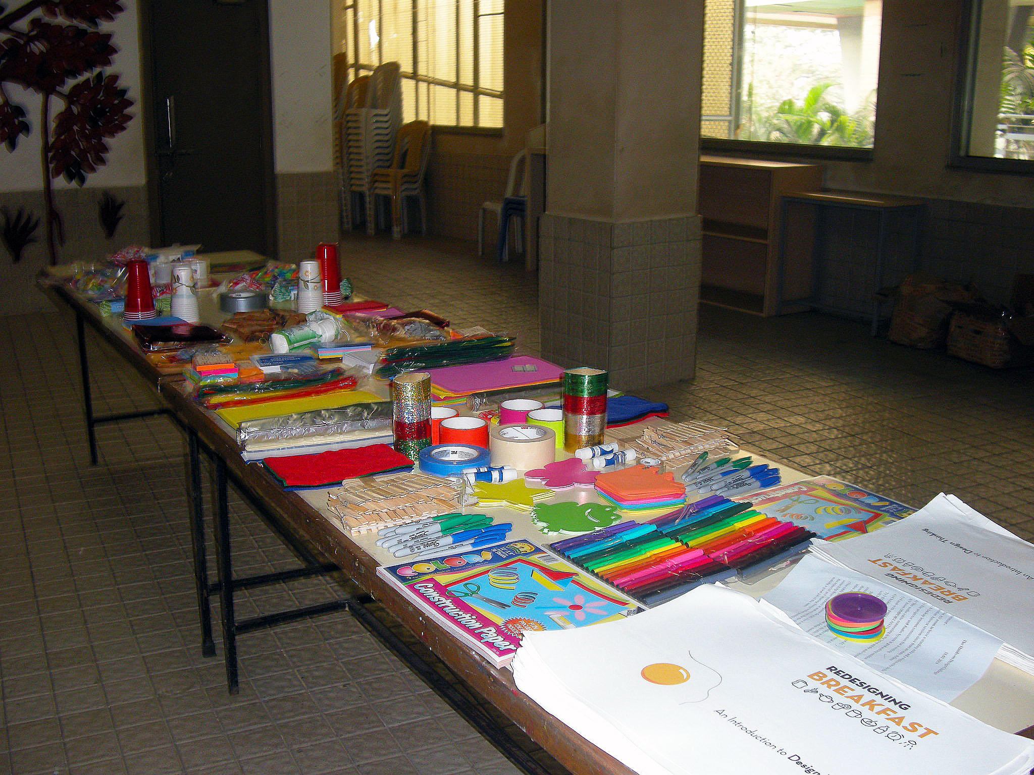 Prototyping supplies rest on a table at the Nalanda Public School in Mumbai India. The table and its location remained a mystery to the U.S. instructors as they guided students through the design project. (Photo by Rajendra Ramesh Bendre)