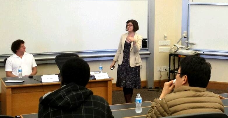 D.school fellow Margaret Hagan delivers remarks on Jan. 30 at Stanford Law School. (Kursat Ozenc)