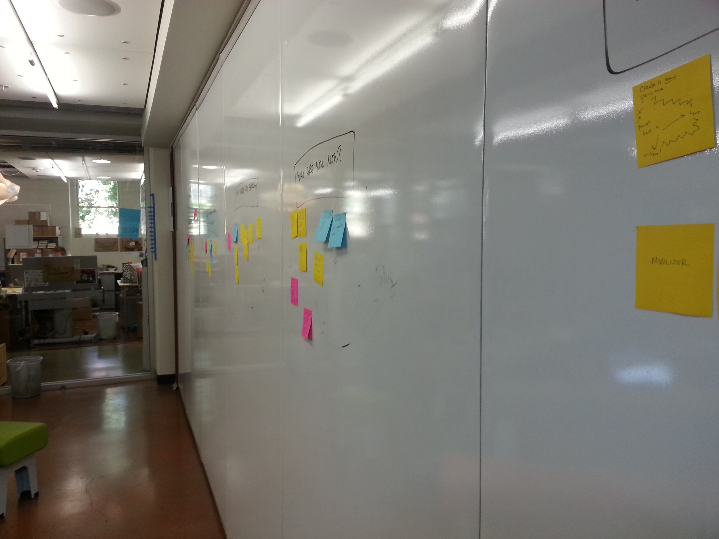 The whiteboards following the storytelling studio post-it exercise on April 2. (Emi Kolawole)
