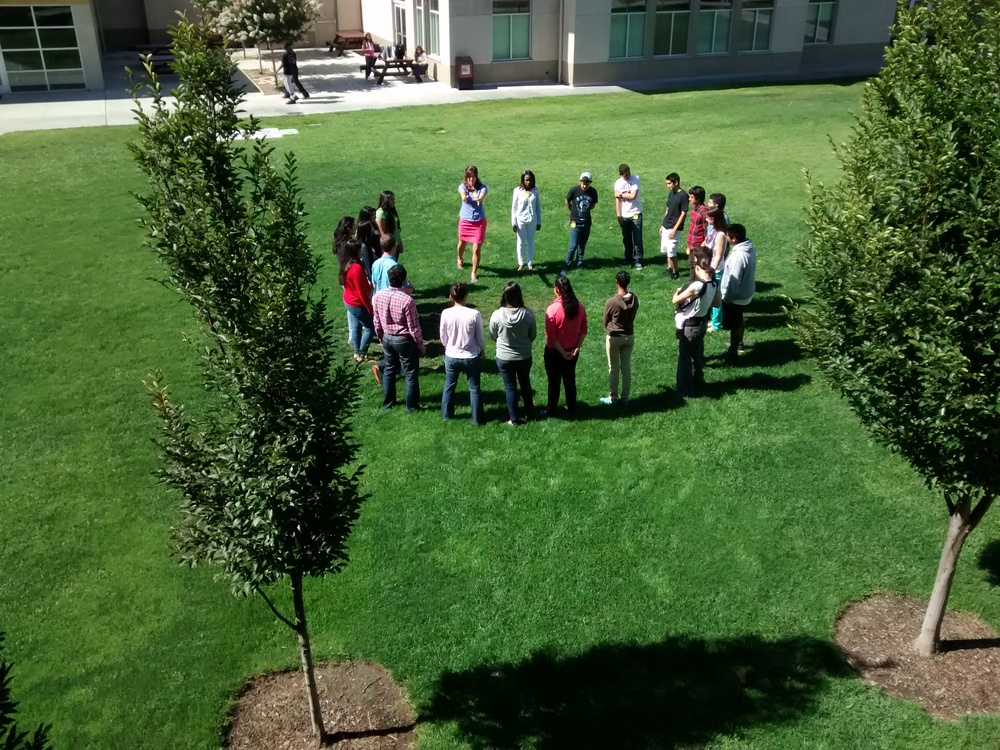Students gather for an exercise at Eastside in Palo Alto this past summer. (Emi Kolawole)
