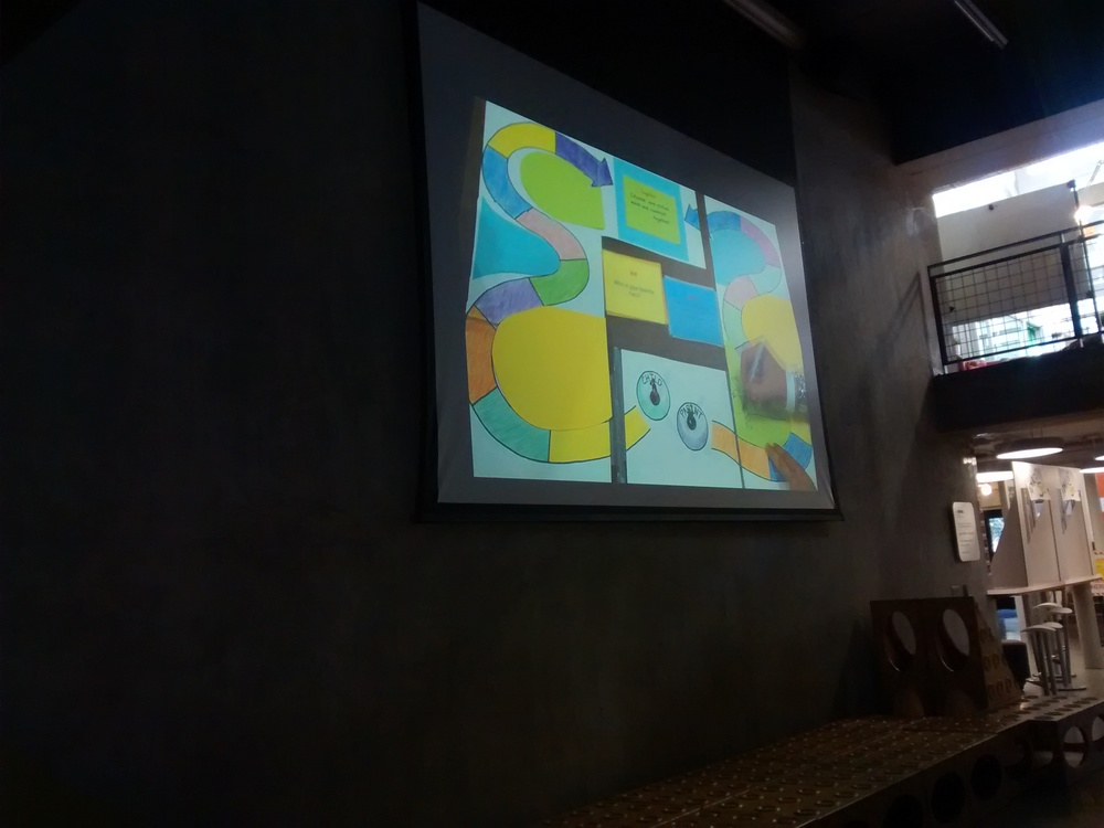 A video from one of the d.bootcamp teams plays during a fast-paced viewing of the teams' presentations. (Emi Kolawole)