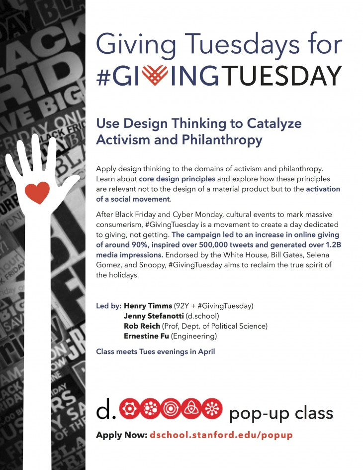 The flier for the #GivingTuesday class taught this past spring at the d.school.
