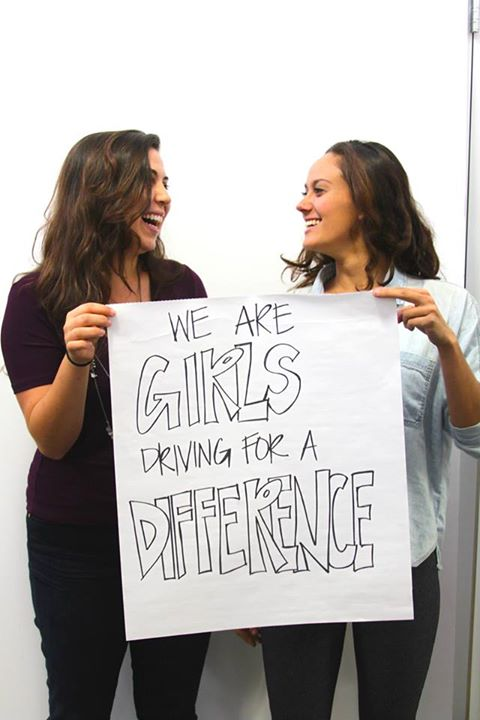 "Katie Kirsch, right, will be going across the country as part of ""Girls Driving for a Difference"", an initiative she co-founded with Jenna Leonardo, left."