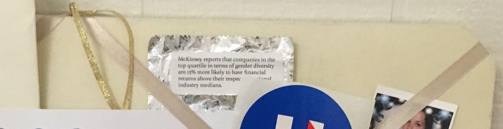 An early prototype pinned to the dorm room wall of a fellow student. (Photo by Laine Bruzek)