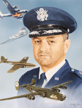 """Brigadier General Robert L. """"Bob"""" Cardenas, USAF (RET) has flown over 60 different aircraft in his career as a test pilot, combat leader in bombers and fighters, and Commander of the Air Force Special Operations Force. Gen. Cardenas began his military career as a private in the Army Cost Artillery. He became a pilot as a cadet in the Army Air Corps, and was commissioned a 2nd Lt. in July 1941. In 1942 he was sent to Twenty-nine Palms, CA to establish an Army Air Corps Glider School. His distinguished military career included flying combat missions in B-24 Liberators over Germany. Shot down on his 20th mission, he evaded capture and escaped. Gen. Cardinas has been a key figure in many of our foreign military operations, including Korea, India, the Himalayan Mountains, Pakistan, Thailand, and North Vietnam. Gen. Cardenas had the dubious honor of negotiating with Muammar Gadhafi the withdrawal of U.S. forces from Wheelus AFB in Libya. As a test pilot, he participated in the flight test evaluation of the German jet fighter ME-262 and the Arado 234 bomber. Cardenas was a key member of the X-1 supersonic project. He served as operations officer and command pilot of the B-29 that launched Captain Charles Yeager into the realm of supersonic flight. As the U.S. Deputy to Live Oak in Belgium his responsibility to SACEUR was to maintain open corridors to Berlin by calling the Soviets bluff to block travel to Berlin by land, air or rail. Prior to his retirement in June 1973, General Cardenas served as Chief of the JL Division of the Joint Strategic Target Planning Staff (JSTPS), where he was responsible for the development of the Joint Stategic Target List of the U.S. nuclear War Plan (SIOP). In 1983 Cardenas served as the California coordinator for President Reagan's Southwest Boarder Economic Action Group. He also served as General to California Veterans, Chairman of the San Diego United Veterans Council and Director on the Board of the Veterans Memorial Center & Museum. Gene"""