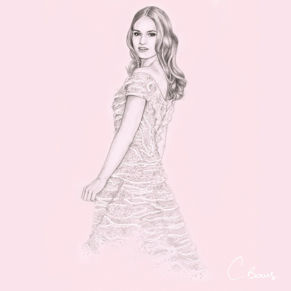 Actress Lily James wearing Elie Saab at the Tokyo premiere of Cinderella, 2015