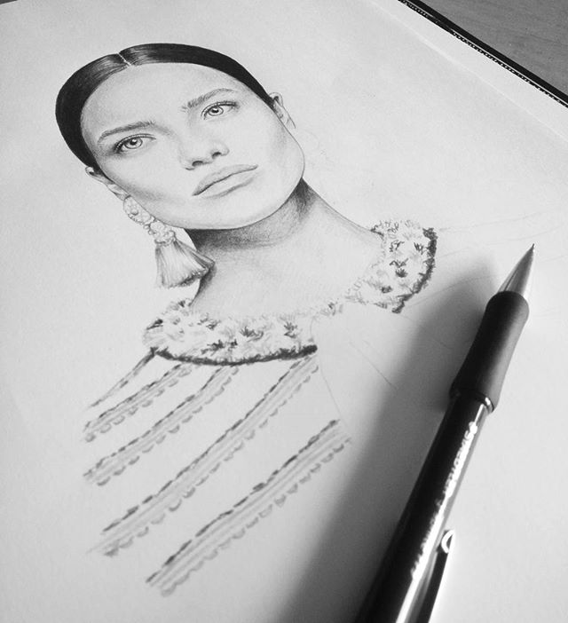 #WIP @myrtille_revemont  #pencilsketch #pencilportrait #illustration #fashionillustration #workinprogress #sketch #instaart
