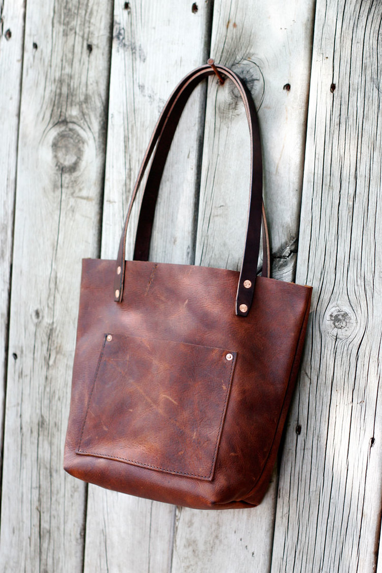 Cedar And Stone Small Leather Tote Bag
