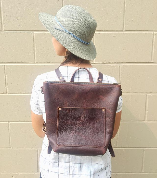 New all-leather backpack tote coming soon to cedar-stone.com!