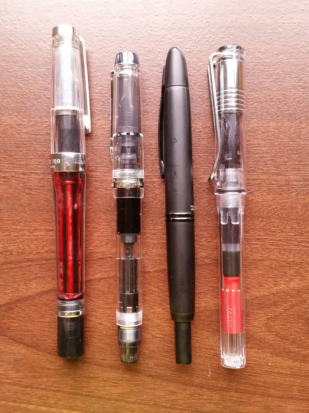 Left to Right: TWSBI Vac700, Pilot Custom Heritage 92, Pilot Vanishing Point, Lamy Vista