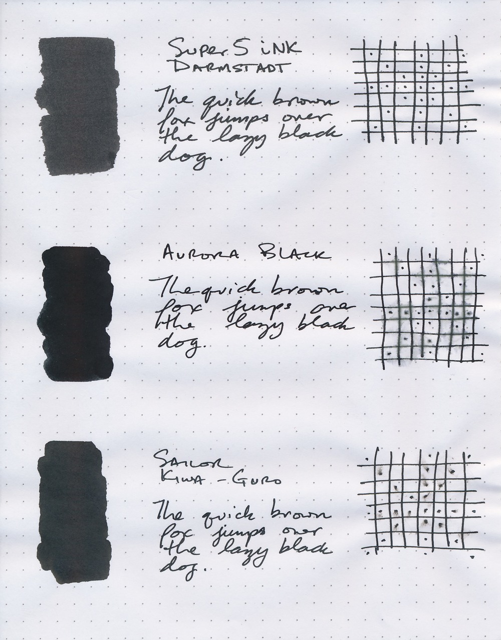 A comparison of three really good black inks.