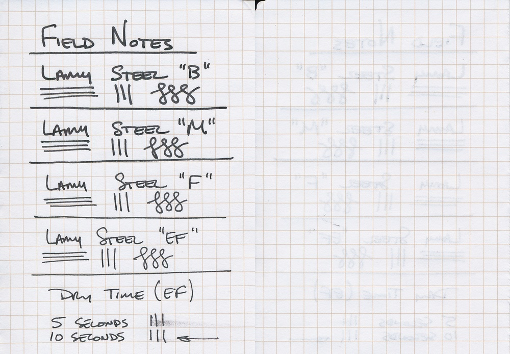 Writing Sample on Field Notes - Front and Back shown