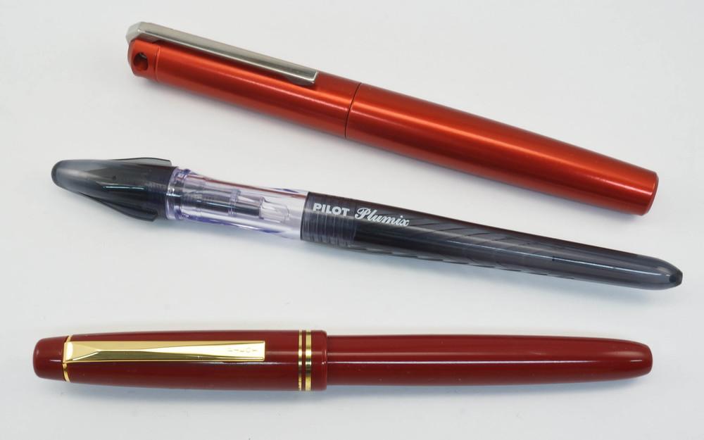 From Top to Bottom: Karas Kustoms Ink, Pilot Plumix, Pilot 78G