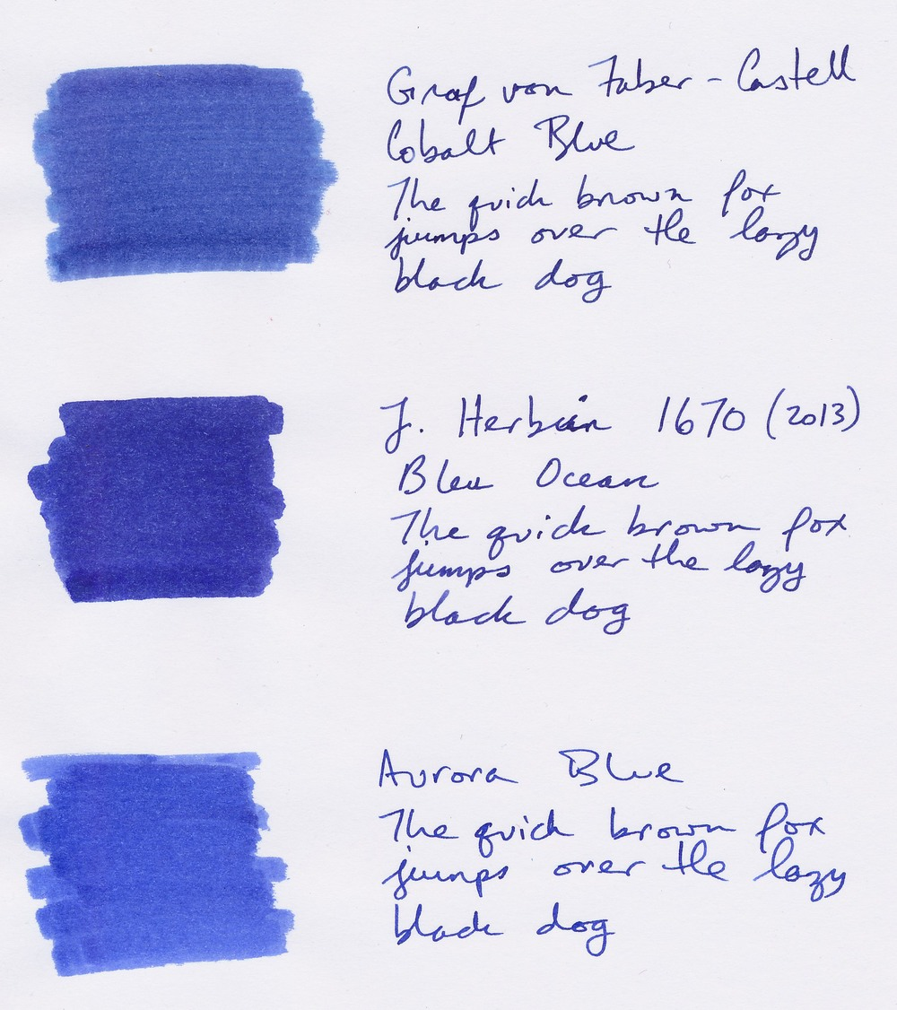 Aurora Blue and the original formulation of J. Herbin 1670 Bleu Ocean both make good substitutes for GvFC Cobalt Blue