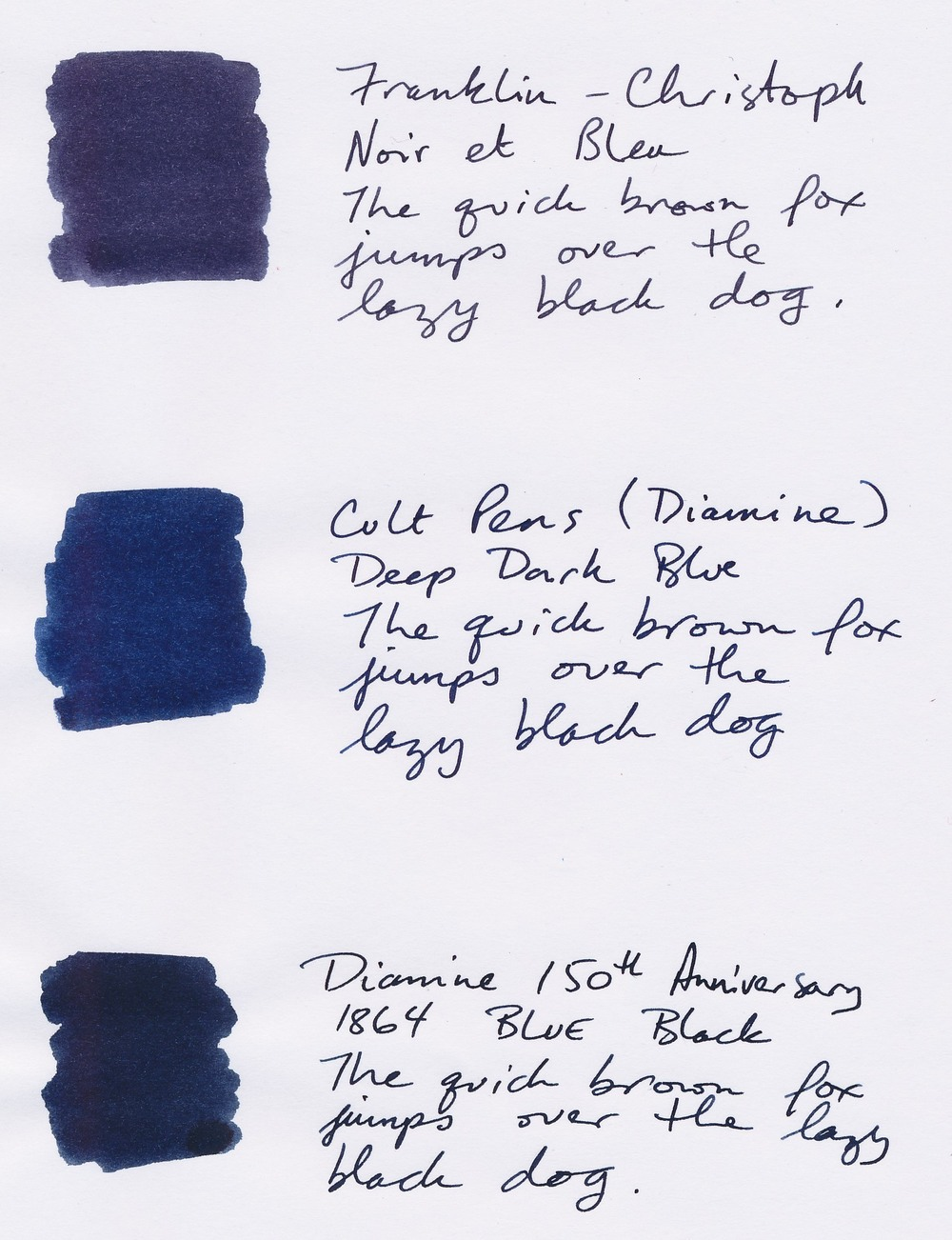 Franklin-Christoph Noir et Bleu Cult Pens Deep Dark Blue Diamine 1864 Blue Black