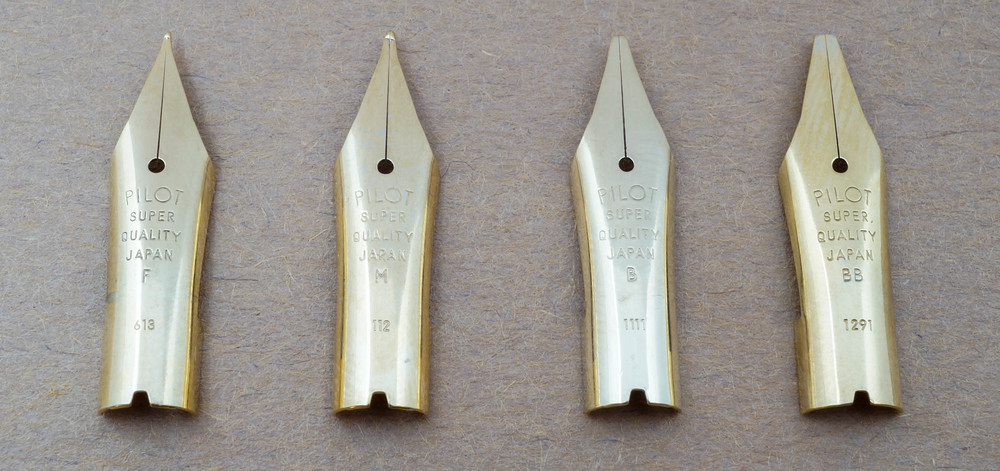 The four nib sizes available in the 78G line. This is the only line with gold plated nibs.