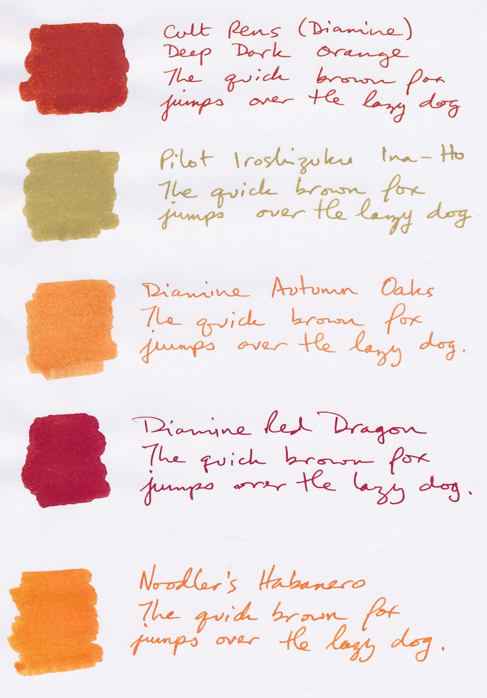 Samples on Clairefontaine Triomphe Cult Pens Deep Dark Orange Pilot Iroshizuku Ina-Ho Diamine Autumn Oaks Diamine Red Dragon Noodler's Habanero