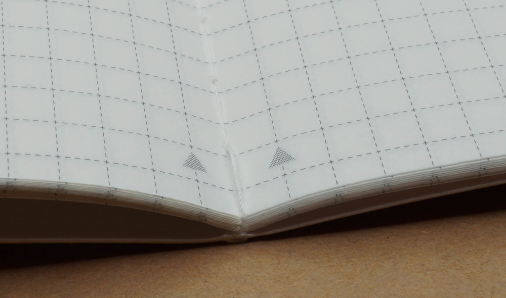 Notice the stitched construction and the small triangles which show where the page is perforated.