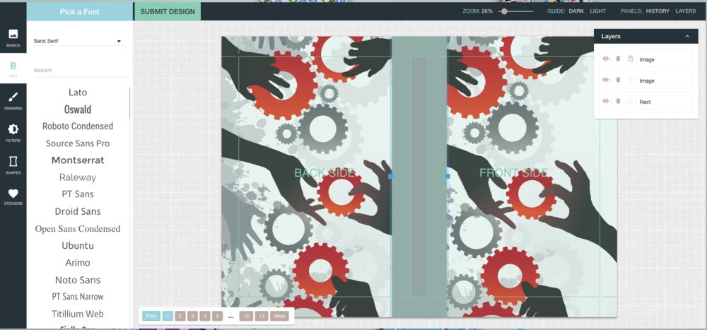 Creating an equivalent cover using the Bookblock Artwork Editor interface.