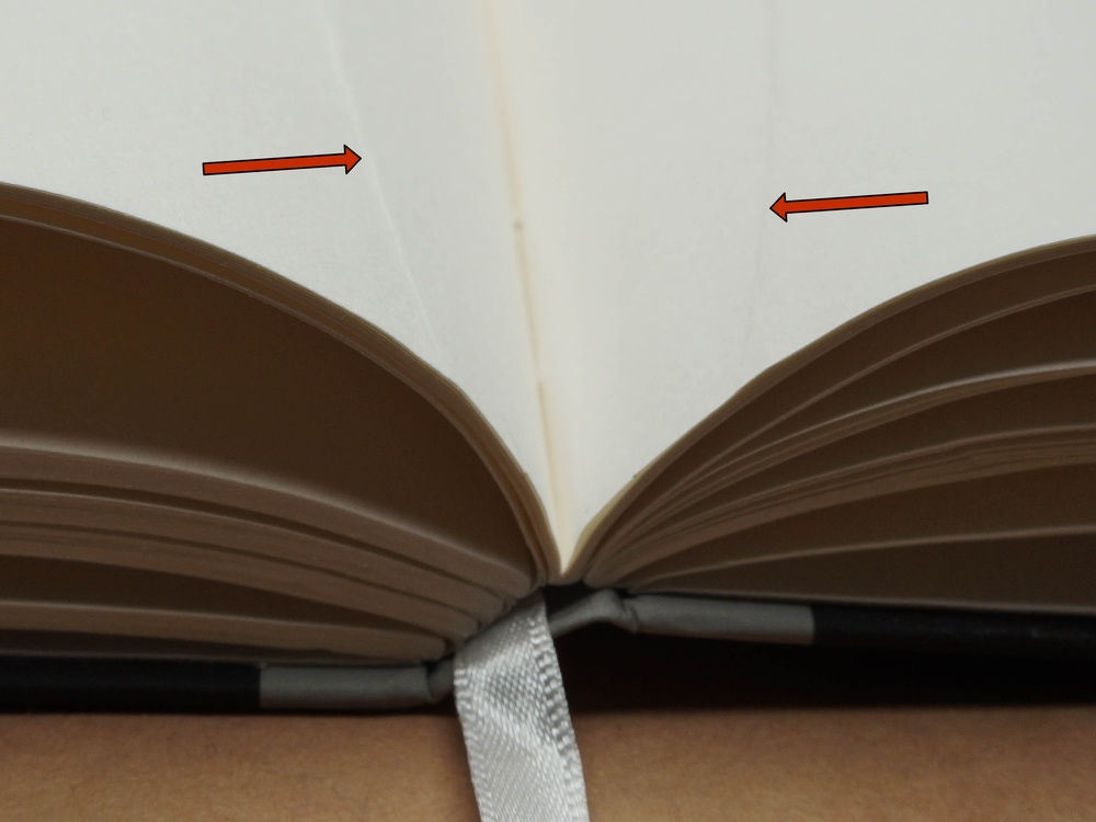 Creases in the paper near the binding. This was evident throughout about 15% of the book.