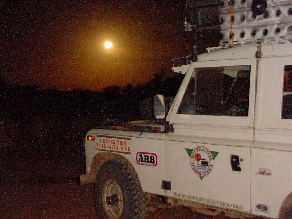 Moon over Land Rover Series 3 near Timbuktu Mali