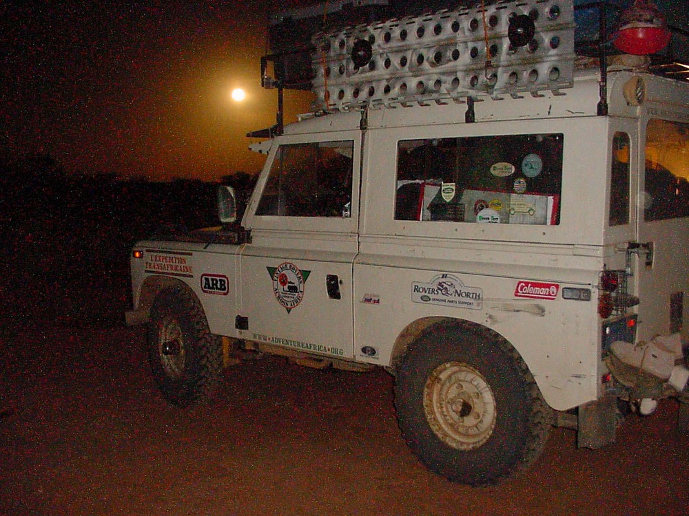 Moon over Land Rover Series 3 outside Timbuktu Mali